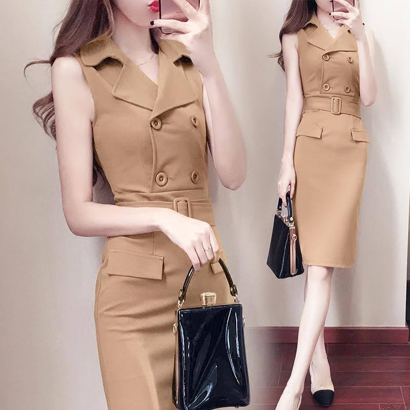 2017夏季新款女装韩版时尚气质修身显瘦OL职业包臀裙子无袖连衣裙
