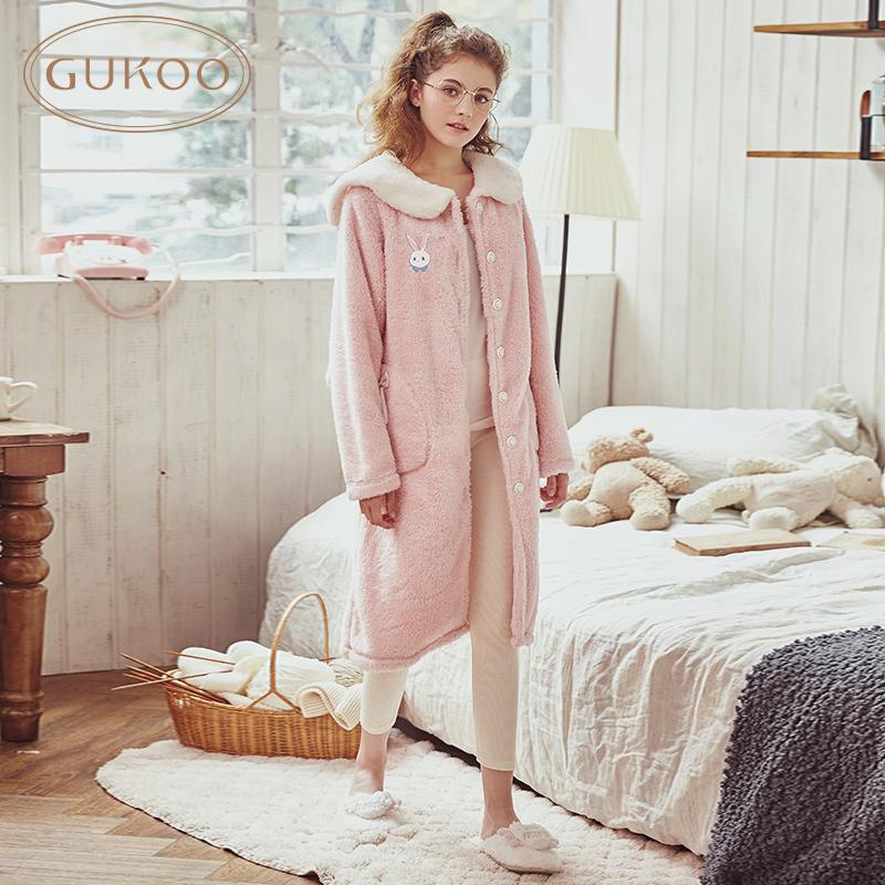 睡衣女可爱睡裙冬季睡衣女珊瑚绒加厚可爱家居服女冬