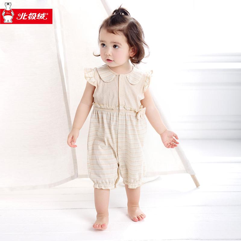 新生儿北极绒彩棉纯棉短袖夏季连体爬爬服婴儿宝宝衣服