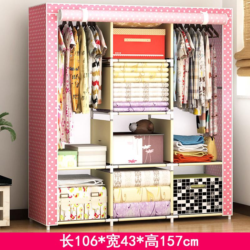 折叠组装大号衣柜简易布艺组合钢架收纳单人布衣橱