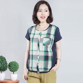 显瘦衬衫 水淼幽雅HM格子拼接大码 新款 海贝3S正品 女装 海贝2016夏装