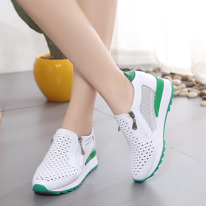 透气休闲镂空拉链春夏新百搭增高单鞋坡跟洞洞女鞋中跟