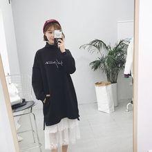 蕾丝打底背心裙两件套装 韩国秋冬刺绣字母中长加绒开叉套头卫衣