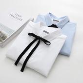 天天特价春秋新款蝴蝶结系带纯色白衬衫女长袖学院风纯棉宽松衬衣