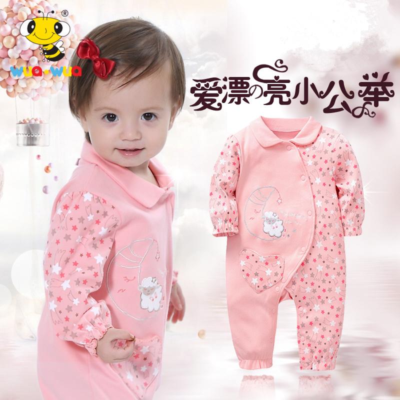 短袖爬爬服宝宝连体新生儿 哈衣女薄款婴儿连体 纯棉