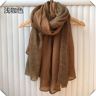 针织毛线拼接围巾女秋冬季新款浅咖驼色加厚百搭韩版学生超长棉麻