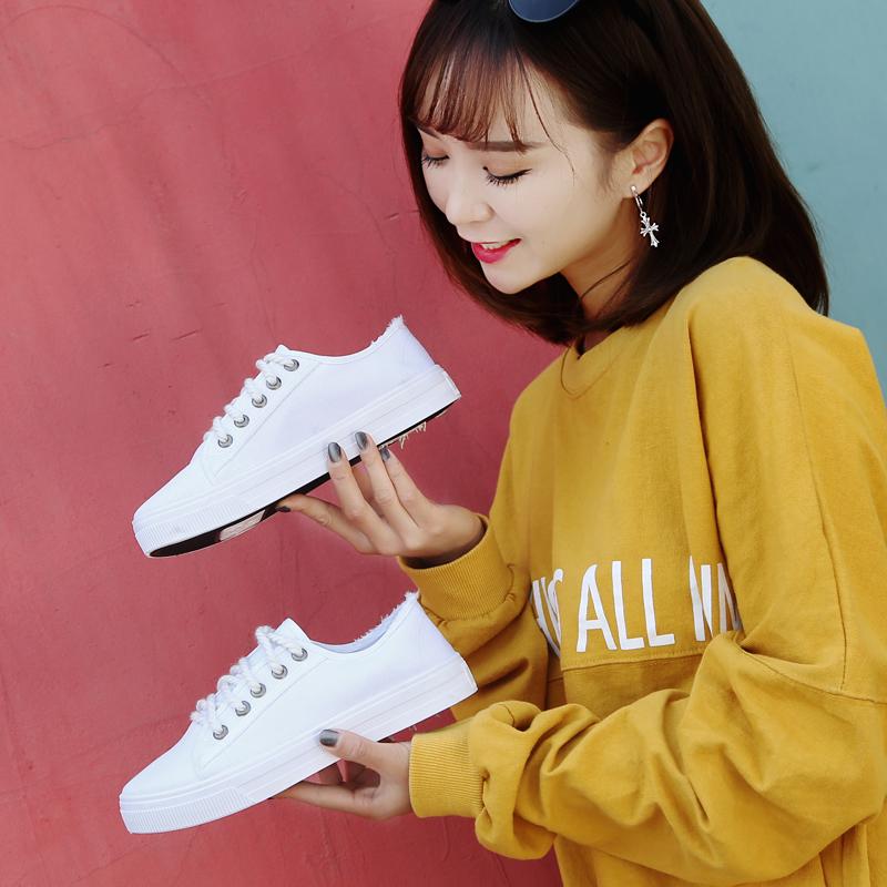 平底透气帆布鞋夏季单鞋休闲白色系带鞋女韩版原宿百搭学生