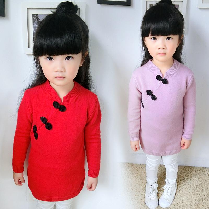 女童毛衣套头秋冬新款旗袍裙女宝宝小童针织衫儿童中国风红色毛衣