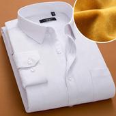 男加厚加绒衬衫 中年保暖衬衣男 男长袖 冬季男士 2件99 保暖白衬衫图片