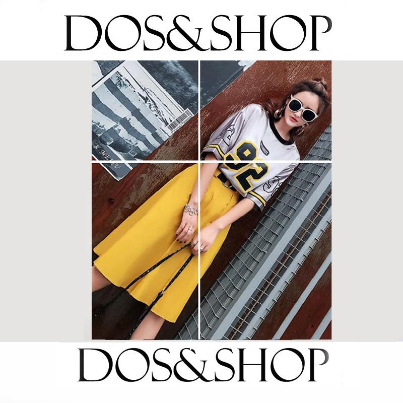 欧美风时尚个性街头银色t恤黄色裙子运动甜美可爱韩版日系套装