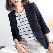 小西装女外套夏季七分袖薄款职业休闲韩版显瘦修身雪纺西服女上衣