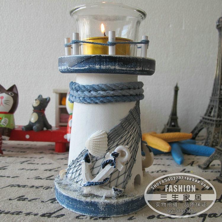地中海装饰蜡烛台 灯塔摆件