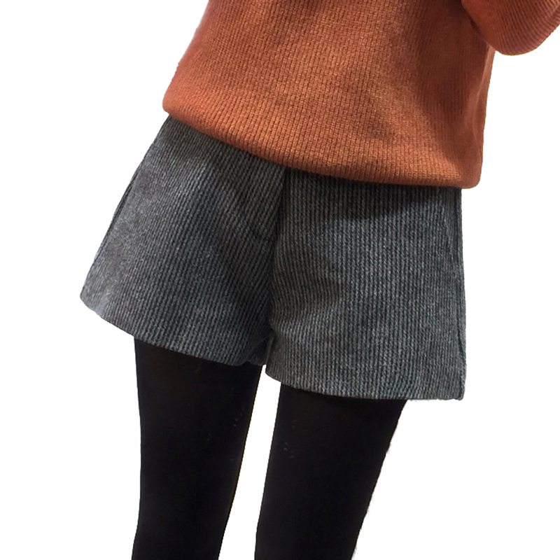 【包邮】打底冬季短裤女士毛呢阔腿裤加厚