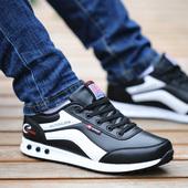 新款潮鞋秋季透气休闲鞋春季防水皮面鞋子男士运动鞋韩版学生板鞋
