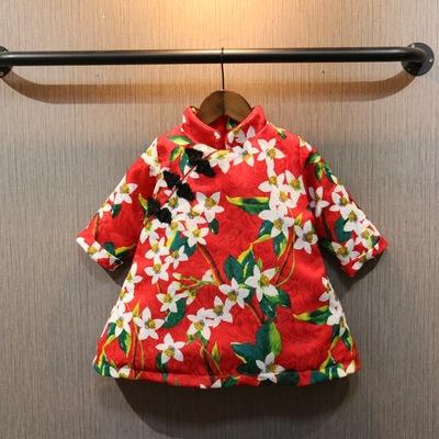 儿童唐装 女童旗袍春秋季夹棉花朵复古连衣裙 宝宝中式篷篷裙上衣