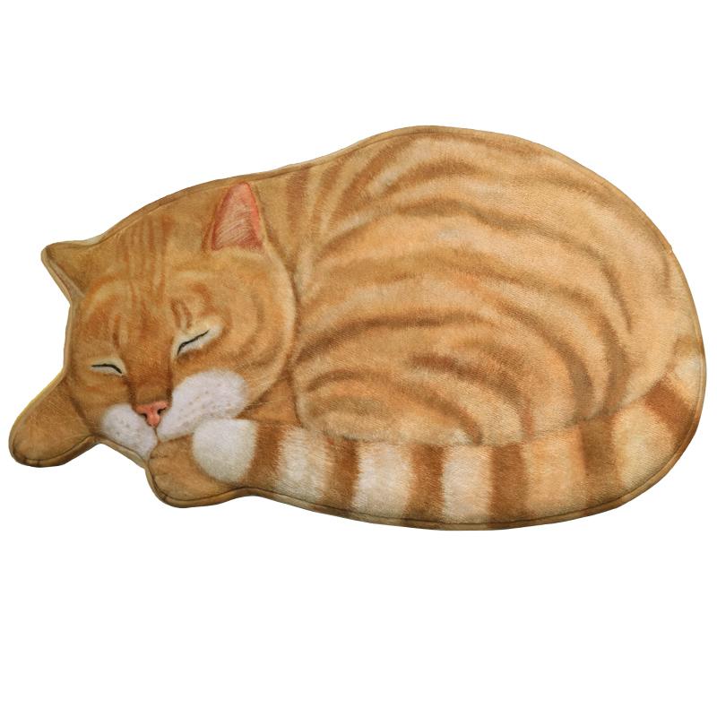 猫咪3d绒面可手洗小地毯