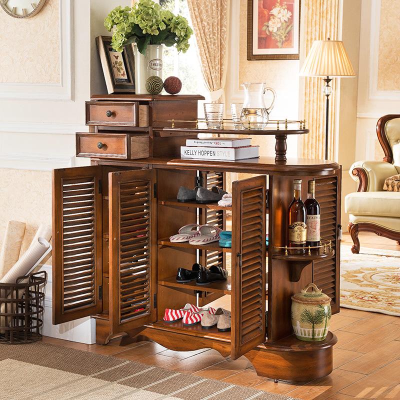 美式乡村三门百叶鞋柜 超薄储物柜复古餐边柜实木玄关柜 定制鞋柜