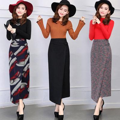 秋冬毛呢中长款半身裙不规则开叉一步裙女冬季加厚包臀裙半身长裙