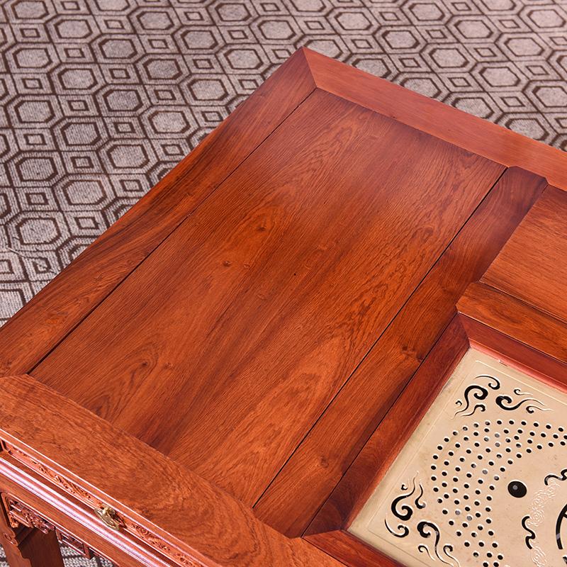 红木茶桌 缅甸花梨木茶桌椅组合多功能功夫泡茶几实木中式茶台