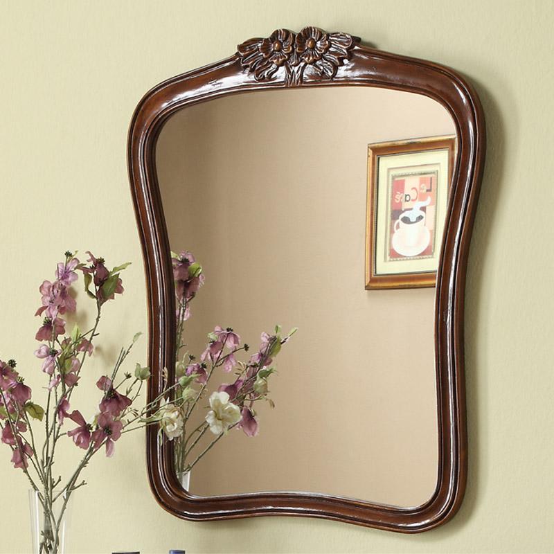美式化妆镜实木家具仿古壁挂镜子欧式玄关挂墙镜子镜