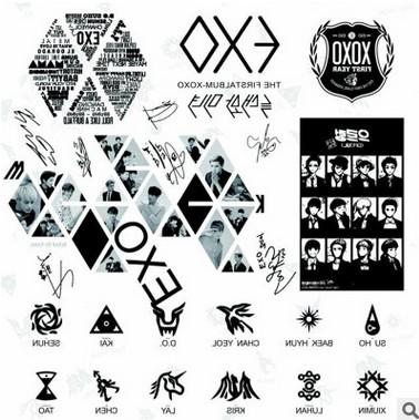 韩国明星 exo集体 防水纹身贴 批发尺寸220*300(mm)