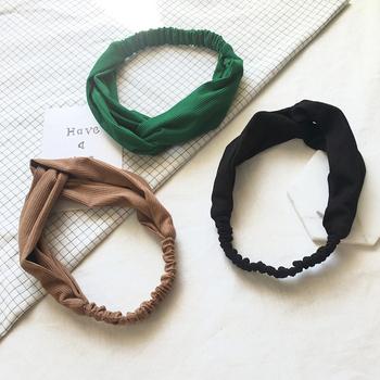 韩国新款条纹针织交叉运动发带韩版打结松紧带发箍头带发饰潮秋冬