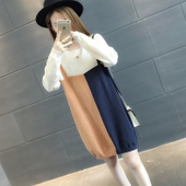 中长款套头韩版宽松拼色毛衣女春装秋冬加厚圆领打底针织衫毛衣裙
