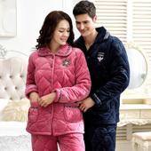 套装 家居服秋冬款 情侣睡衣女冬季夹棉加厚加绒三层珊瑚绒保暖男士