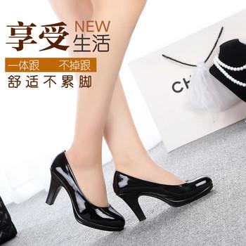 新款一体跟OL职业中跟工作鞋女单