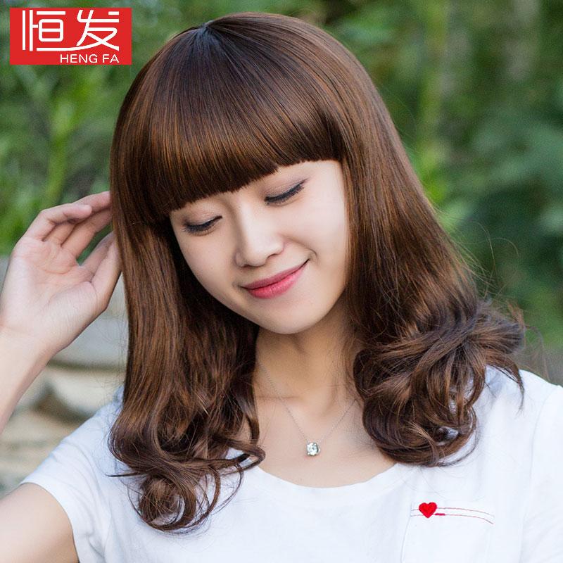 恒发假发女 女式假发长卷发 时尚修脸梨花头长发卷发亚光高温丝