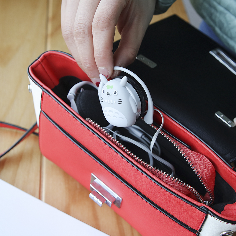 包邮韩版创意卡通挂耳式耳机可爱男女学生耳塞式带麦线控手机通用