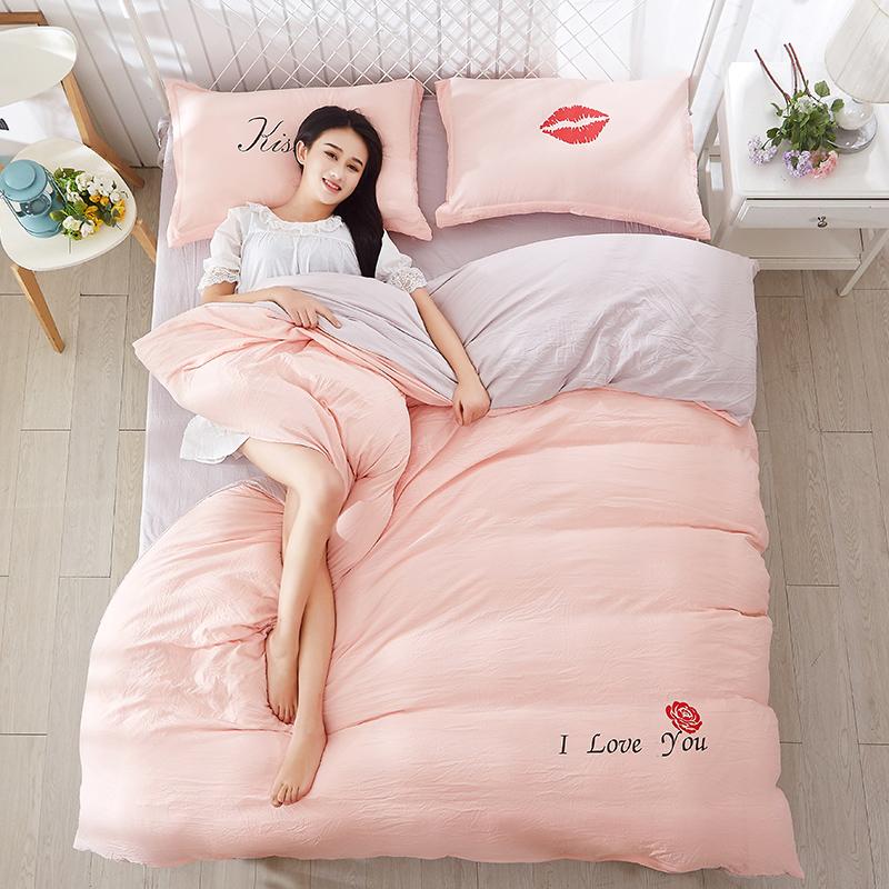 纯色双人泡泡纱水洗四件套床单床笠床品被套