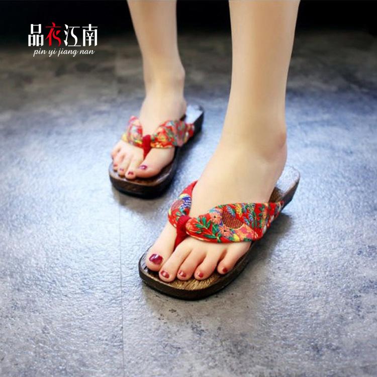 日本传统和服木屐鞋子女款人字拖木拖鞋 夹脚木屐 女士平跟木屐鞋