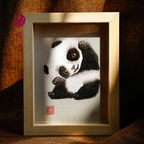 雅绣集湘绣纯手工双面绣蜀绣熊猫摆件热销原创正品送老外出国礼物