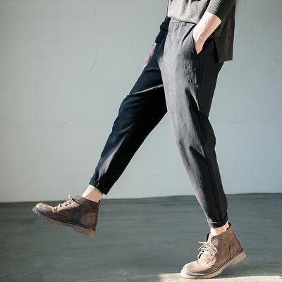 休闲裤男秋季纯色小脚裤日系休闲长裤青年学生宽松哈伦裤运动裤子