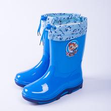 儿童雨鞋男童女童中筒防滑加绒保暖卡通水鞋小孩学生宝宝雨靴胶鞋