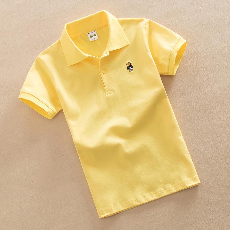 童装春夏装纯棉T恤方领打底衫 儿童短袖t恤 中大男童纯色纯棉上衣
