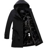 风衣男冬季韩版修身型青年男士外套中长款加绒加厚冬天毛呢子大衣