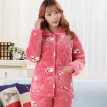 女装冬季三层加厚珊瑚绒夹棉睡衣上衣家居服长袖保暖棉衣单件棉袄