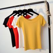 冰丝针织衫紧身针织短袖大圆领T恤女修身显瘦夏季露肩一字领上衣
