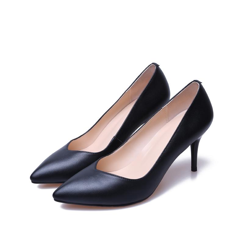 淘宝网女士高跟鞋子_单鞋职业黑色高跟鞋女士尖头中跟工作_高跟鞋_左山网