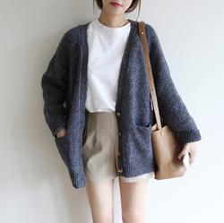 2017春秋韩版新款针织衫女开衫单排扣宽松女装短款外搭毛衣厚外套