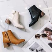 K姐 2017秋季欧美新品纯色圆头短靴高跟侧拉链靴子时尚女鞋