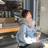 2017冬季新款韩版加厚毛绒毛领牛仔外套宽松短款加绒羊羔毛棉服女