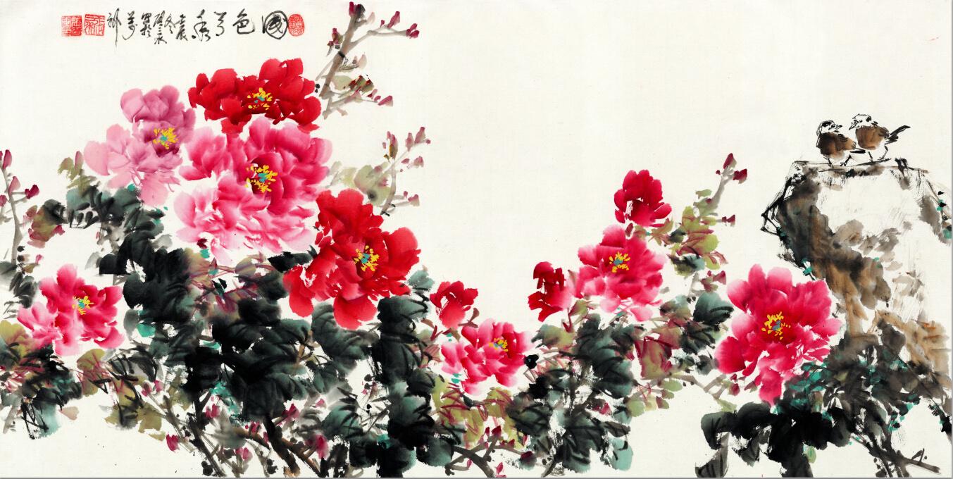国色天香 牡丹 中国水墨山水画书法花鸟字画工笔装饰画 全场特价