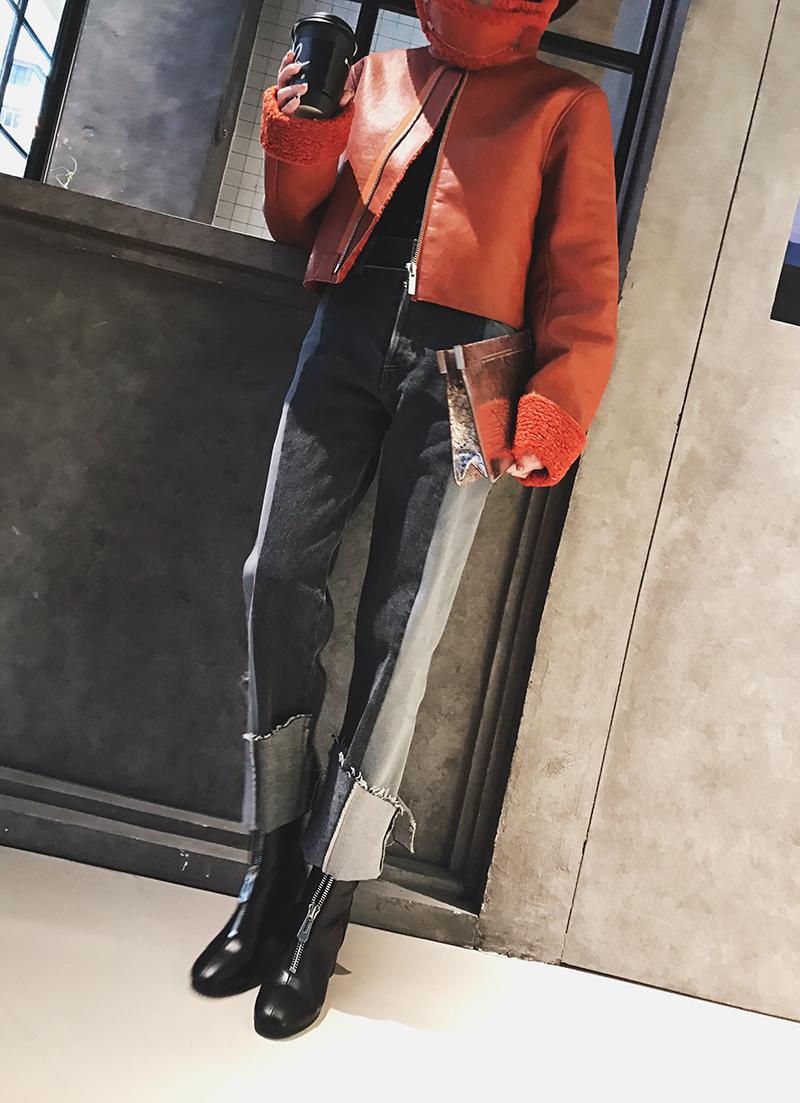openlady 新款冬季韩版黑灰深浅拼接水洗牛仔裤女宽松显瘦阔腿裤