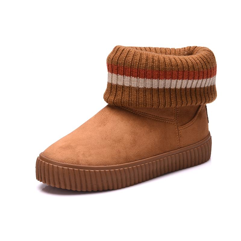 2016冬季儿童雪地靴男童鞋女童靴子纯色亲子棉鞋加绒舒适女鞋短靴