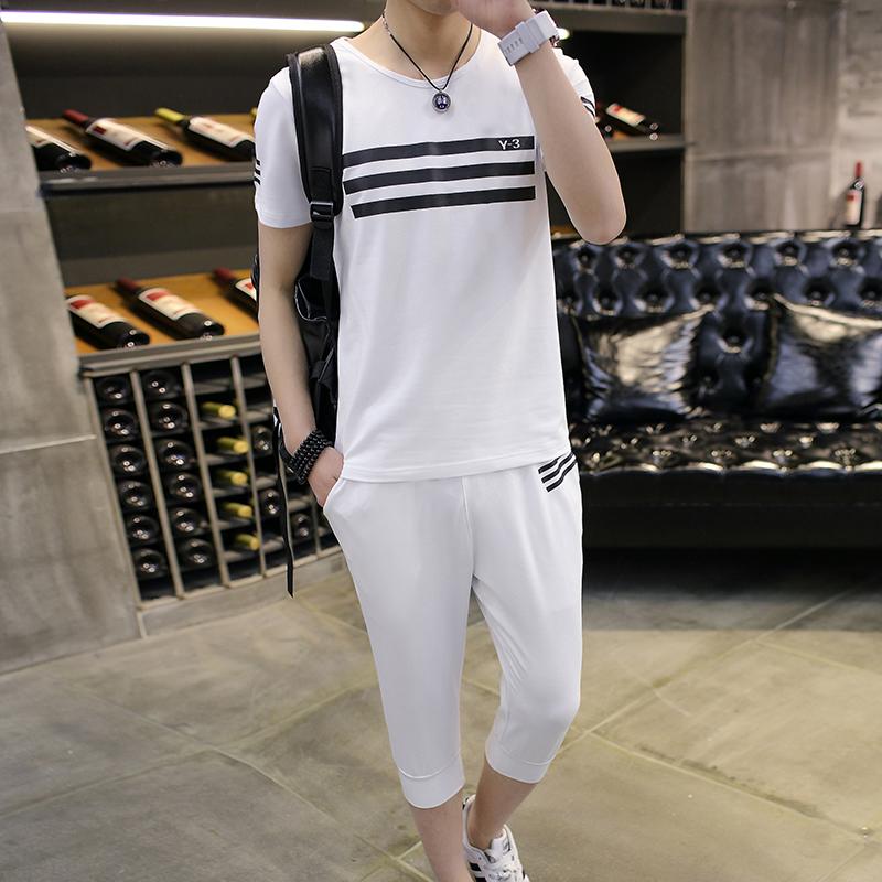 [包邮]夏季新款男装休闲运动条纹T恤+7分裤套装