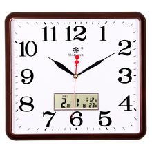 艺术万年日历石英钟 七王星方形电子挂钟客厅静音钟表家庭创意时尚