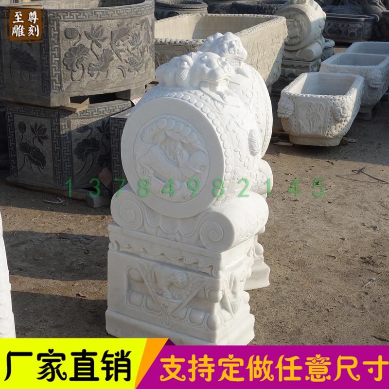 石雕门墩仿古狮子貔貅门墩抱鼓石白石雕刻做旧镇宅老石鼓门鼓装饰